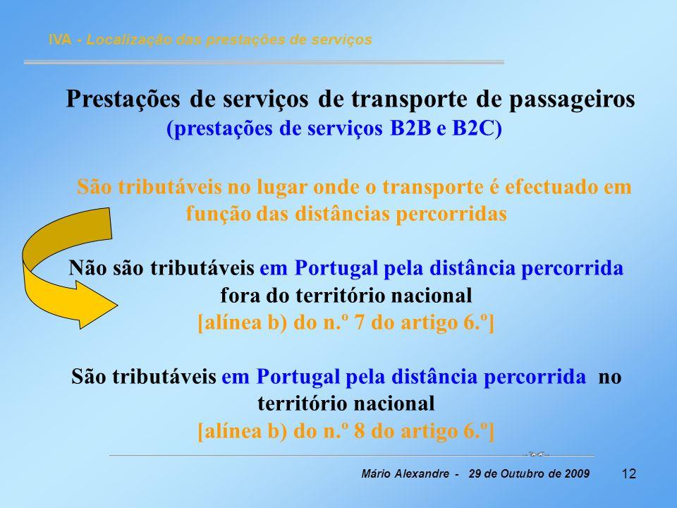 Prestações de serviços de transporte de passageiros