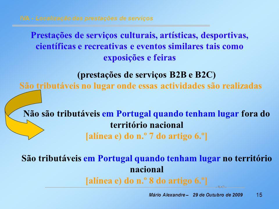 (prestações de serviços B2B e B2C)