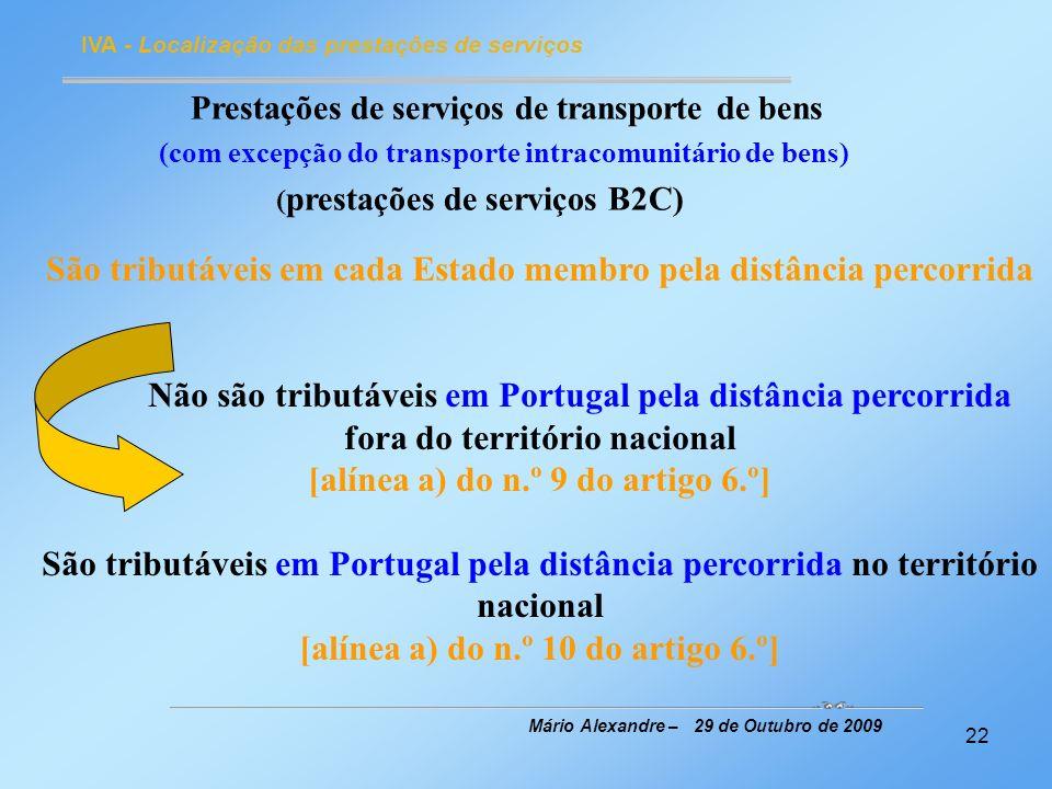 Prestações de serviços de transporte de bens