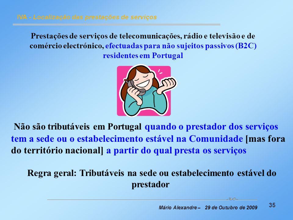 IVA - Localização das prestações de serviços