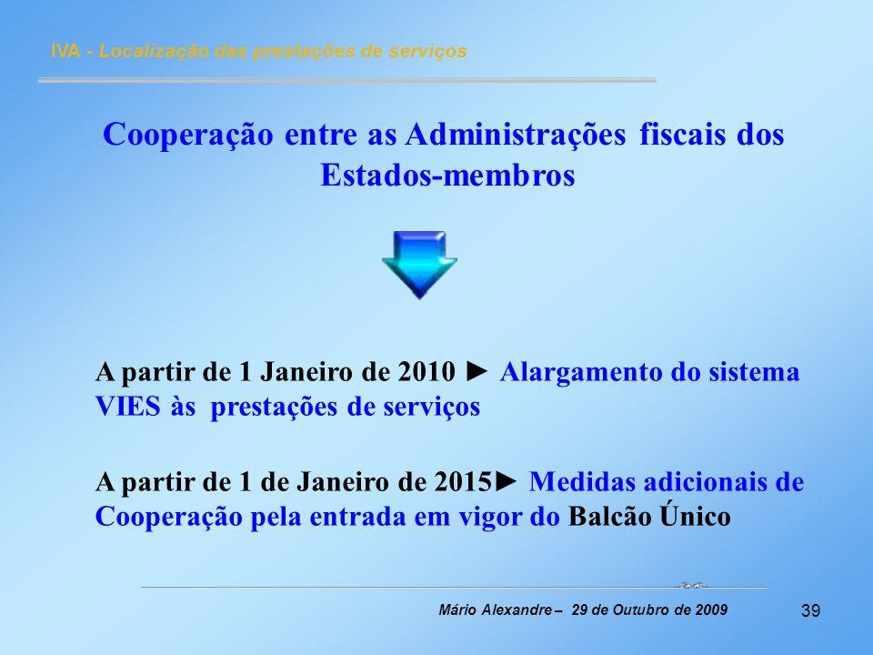 Cooperação entre as Administrações fiscais dos