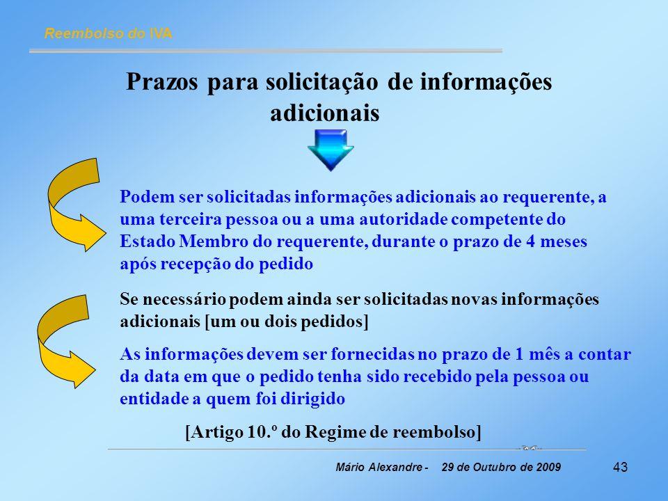 Prazos para solicitação de informações adicionais