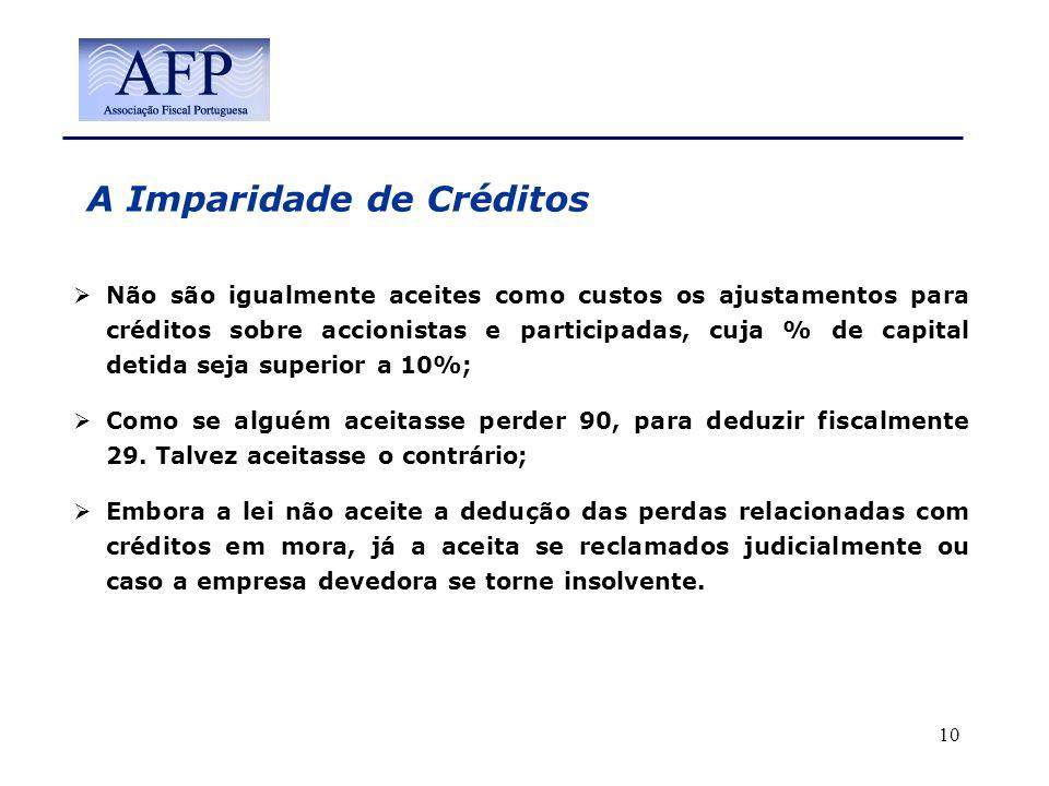 A Imparidade de Créditos