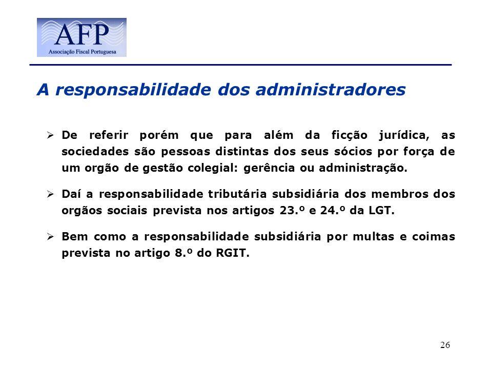 A responsabilidade dos administradores
