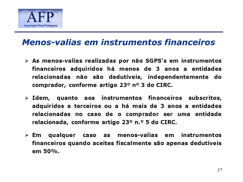 Menos-valias em instrumentos financeiros