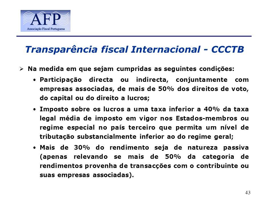 Transparência fiscal Internacional - CCCTB