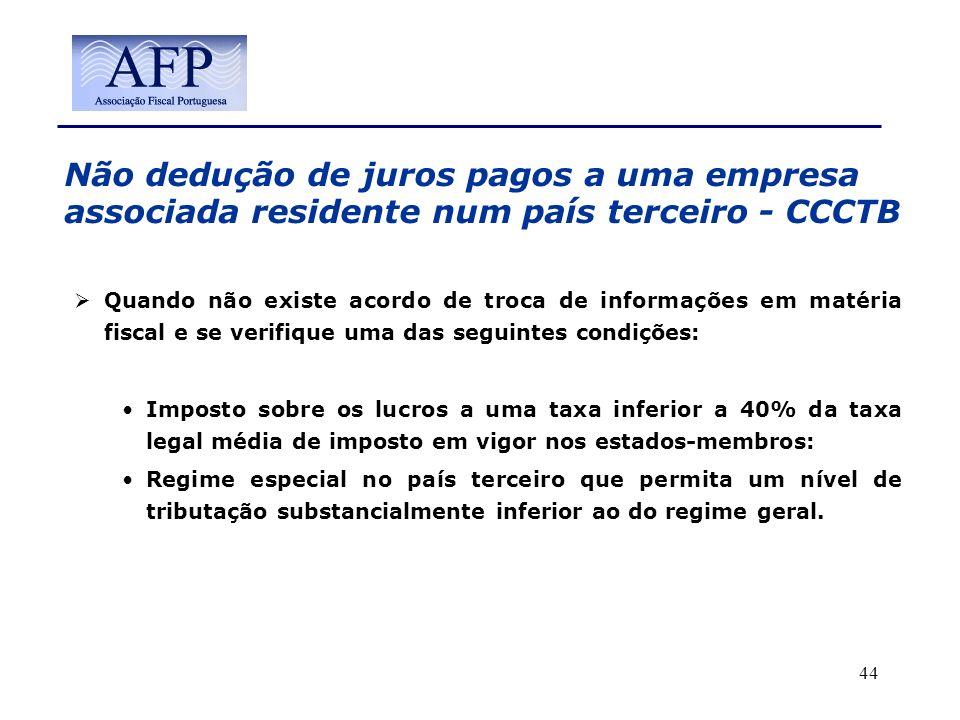 Não dedução de juros pagos a uma empresa associada residente num país terceiro - CCCTB