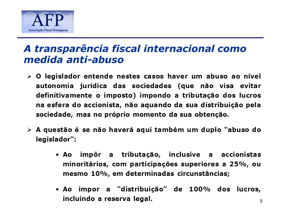 A transparência fiscal internacional como medida anti-abuso