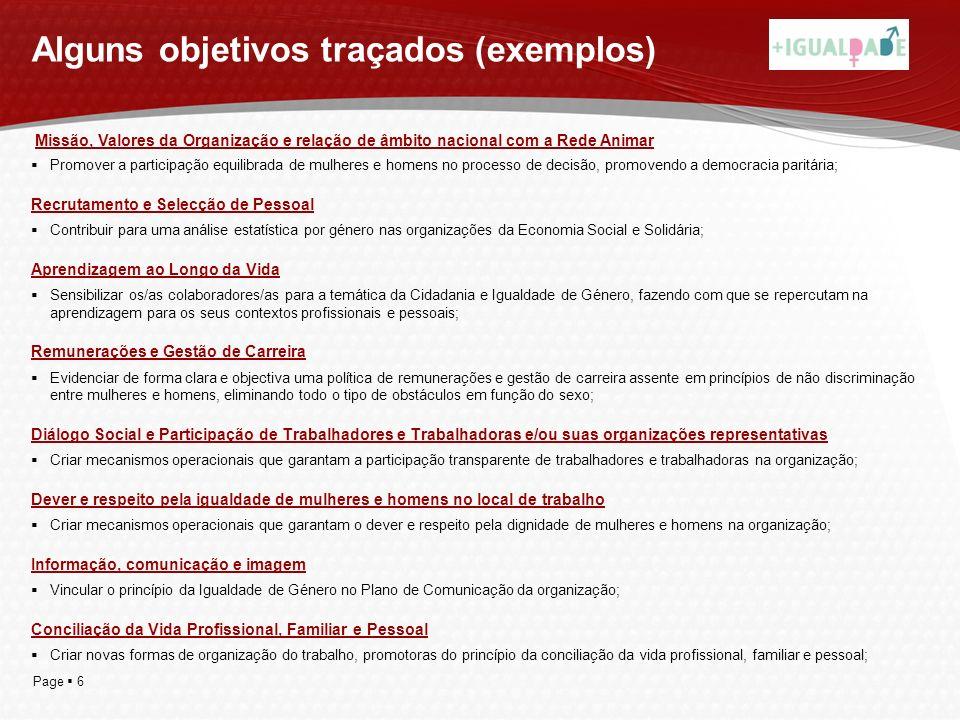 Alguns objetivos traçados (exemplos)