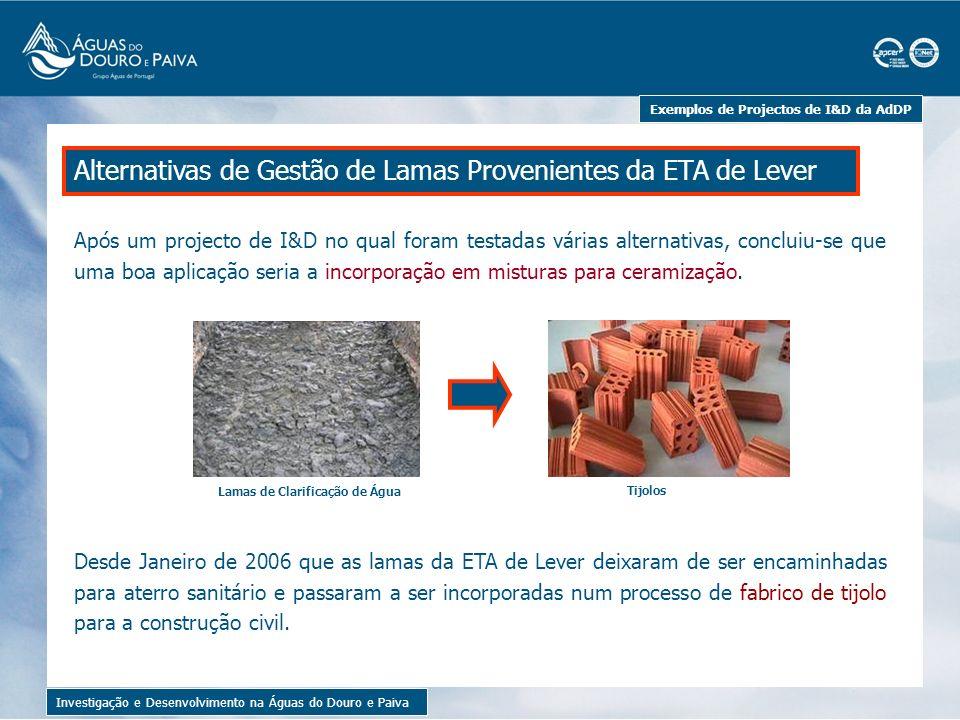 Exemplos de Projectos de I&D da AdDP Lamas de Clarificação de Água