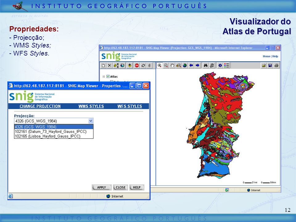 Visualizador do Atlas de Portugal Propriedades: Projecção; WMS Styles;