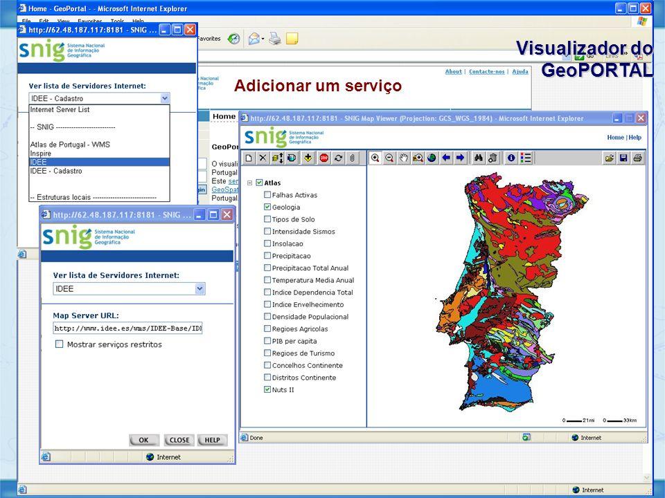 Visualizador do GeoPORTAL Adicionar um serviço