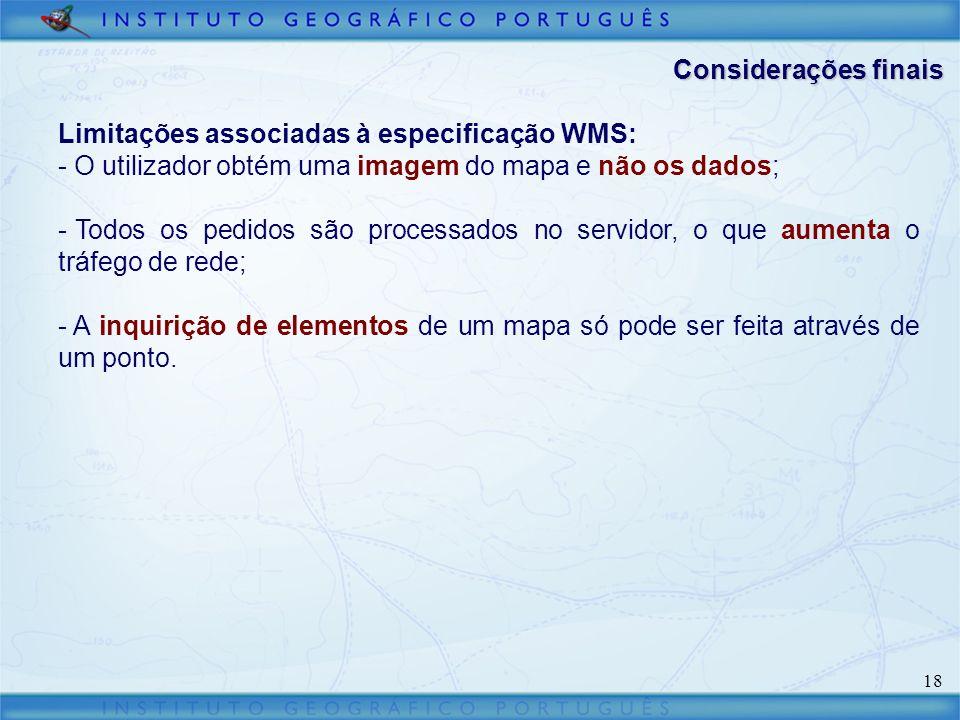 Considerações finais Limitações associadas à especificação WMS: O utilizador obtém uma imagem do mapa e não os dados;