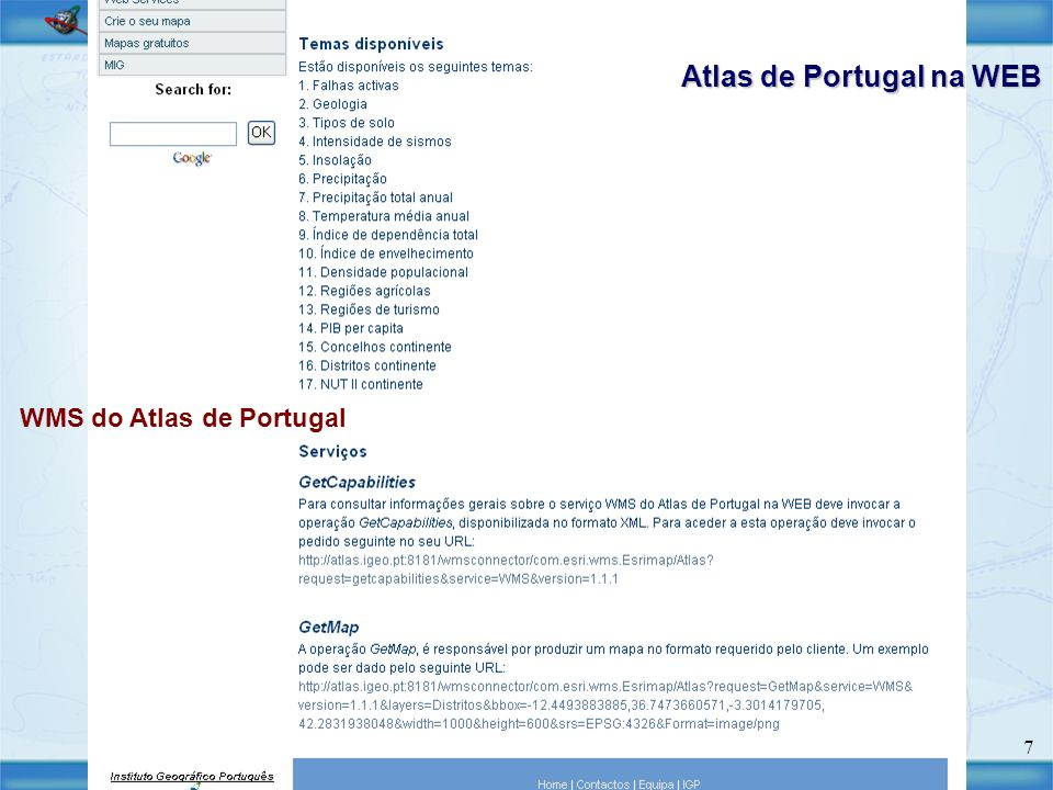 Atlas de Portugal na WEB