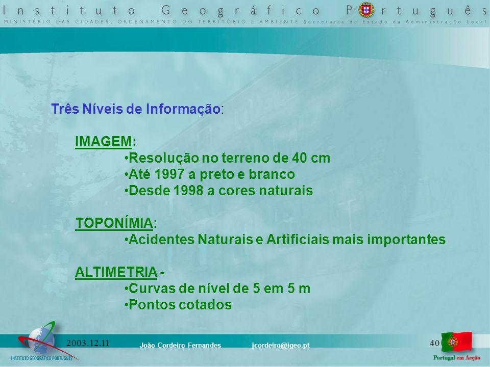 Três Níveis de Informação: IMAGEM: Resolução no terreno de 40 cm