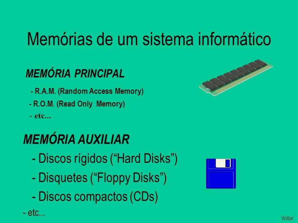 Memórias de um sistema informático