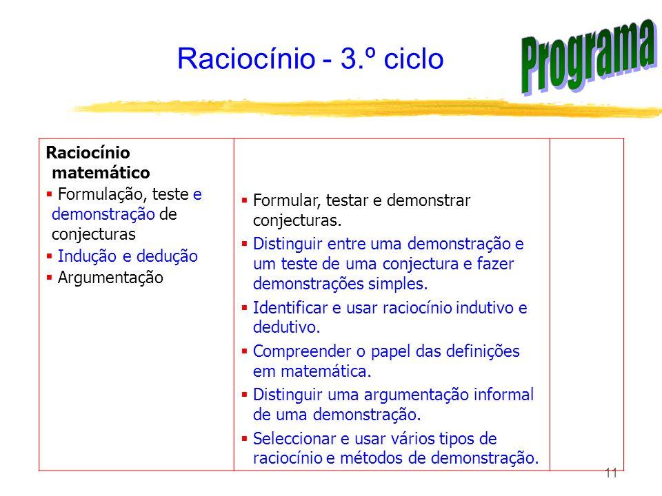 Programa Raciocínio - 3.º ciclo Raciocínio matemático