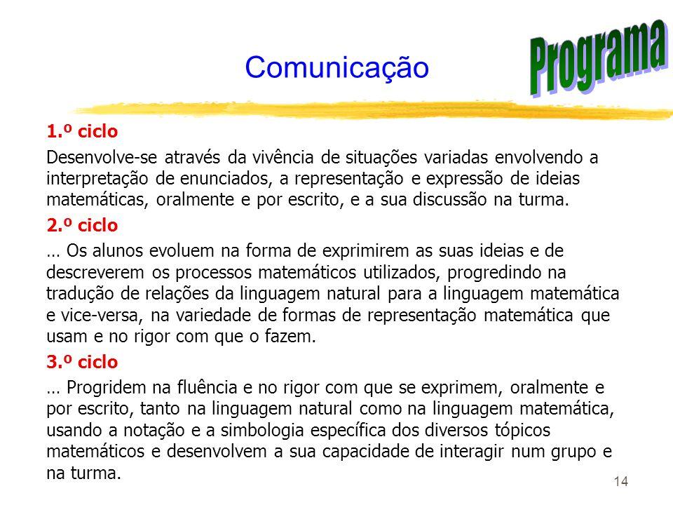 Programa Comunicação 1.º ciclo
