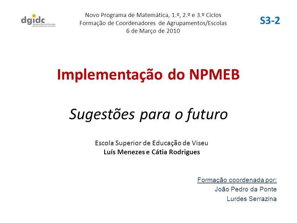 Implementação do NPMEB Sugestões para o futuro