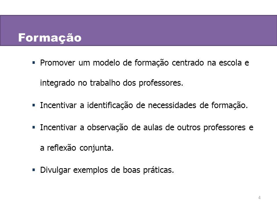 Formação Promover um modelo de formação centrado na escola e integrado no trabalho dos professores.