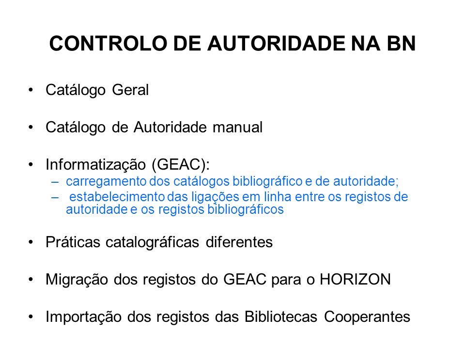 CONTROLO DE AUTORIDADE NA BN
