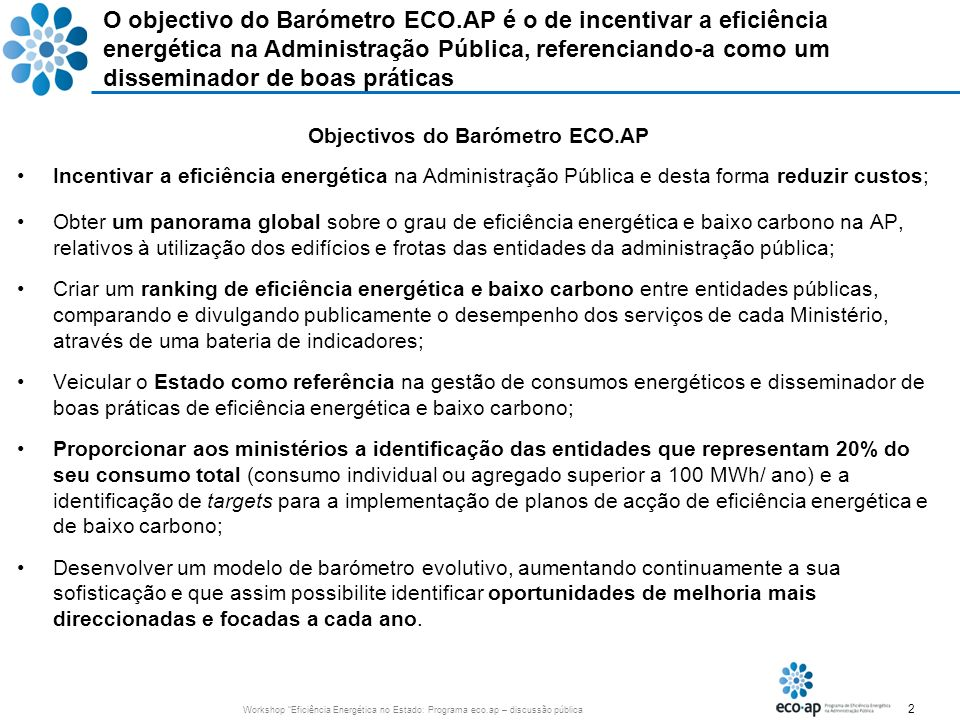 Objectivos do Barómetro ECO.AP