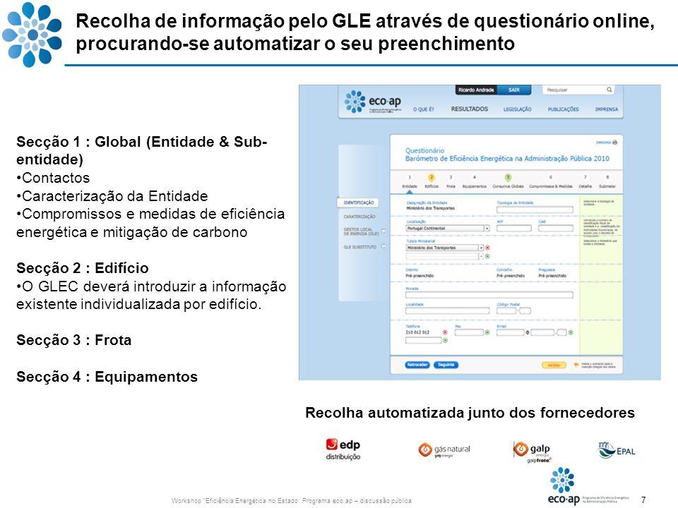 Recolha de informação pelo GLE através de questionário online, procurando-se automatizar o seu preenchimento