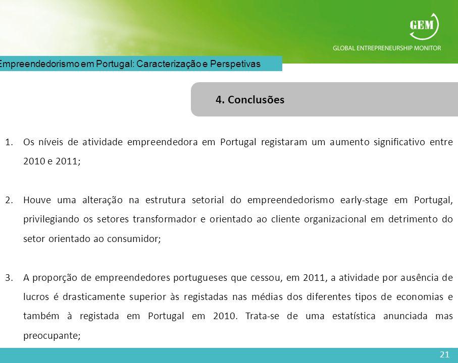 4. Conclusões Os níveis de atividade empreendedora em Portugal registaram um aumento significativo entre 2010 e 2011;