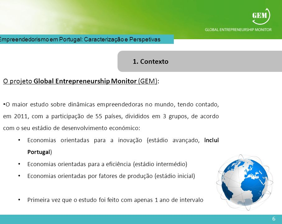 O projeto Global Entrepreneurship Monitor (GEM):