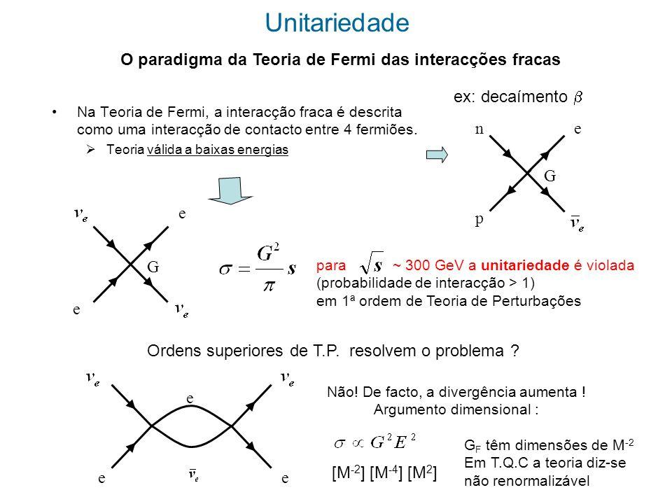 Unitariedade O paradigma da Teoria de Fermi das interacções fracas