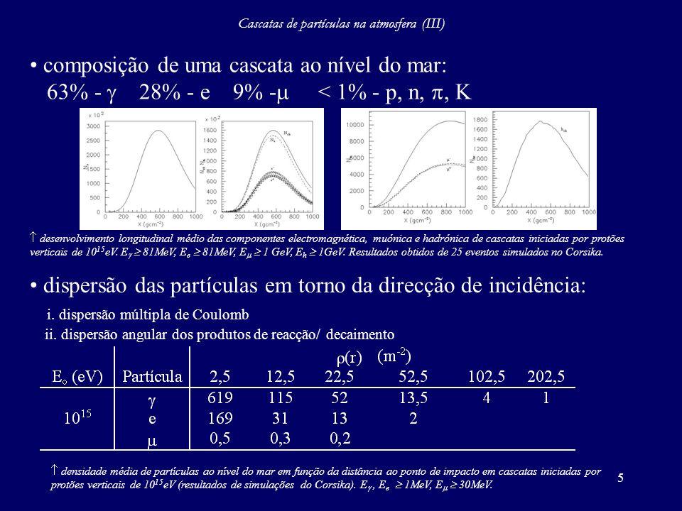 Cascatas de partículas na atmosfera (III)