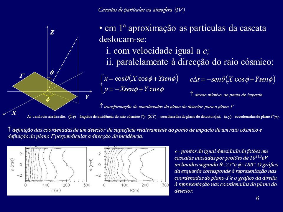 Cascatas de partículas na atmosfera (IV)