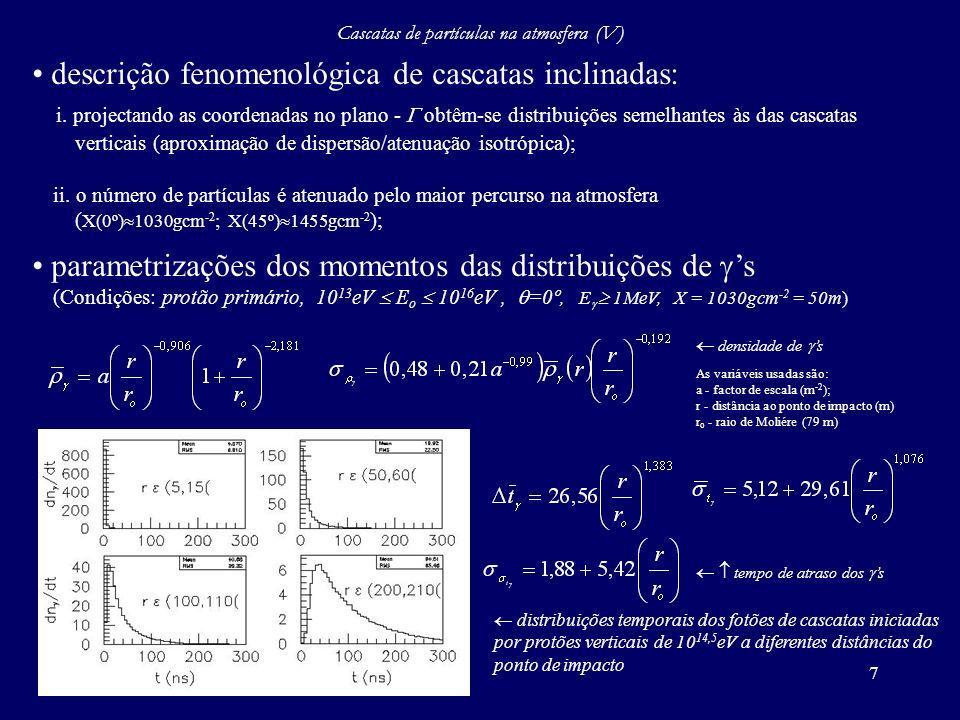 Cascatas de partículas na atmosfera (V)