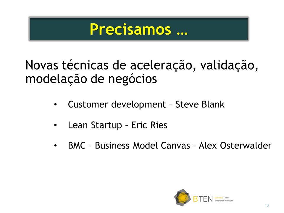 Precisamos … Novas técnicas de aceleração, validação, modelação de negócios. Customer development – Steve Blank.