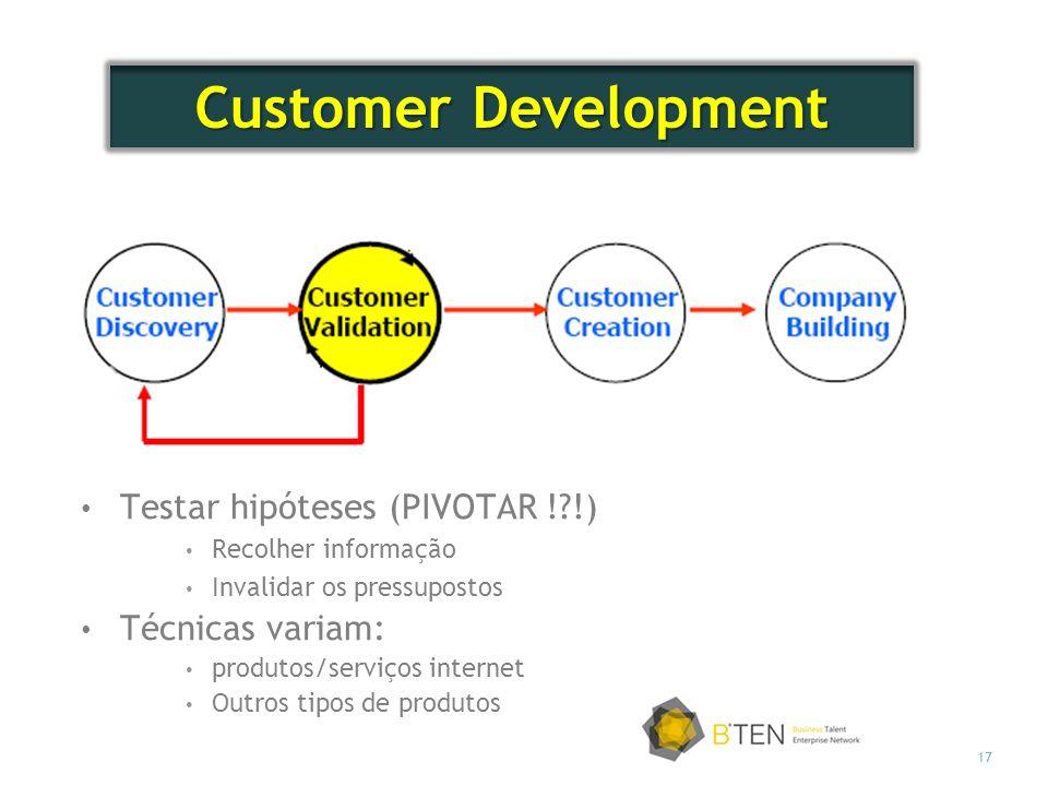 Customer Development Testar hipóteses (PIVOTAR ! !) Técnicas variam: