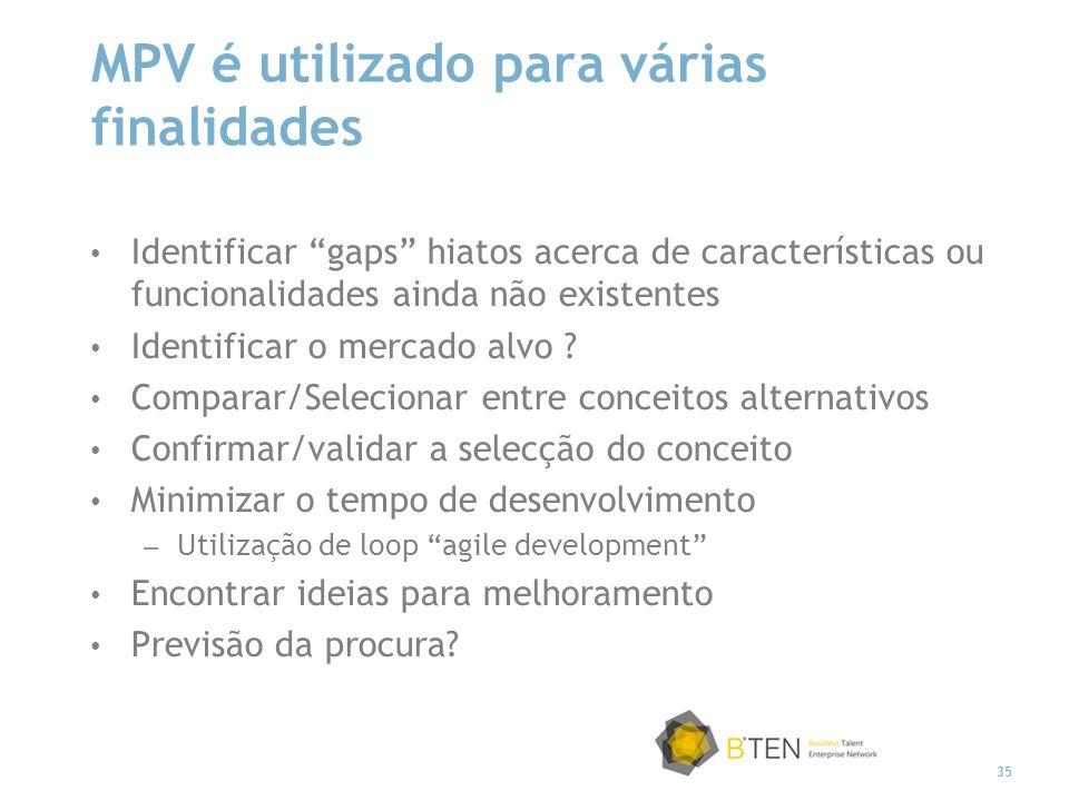 MPV é utilizado para várias finalidades