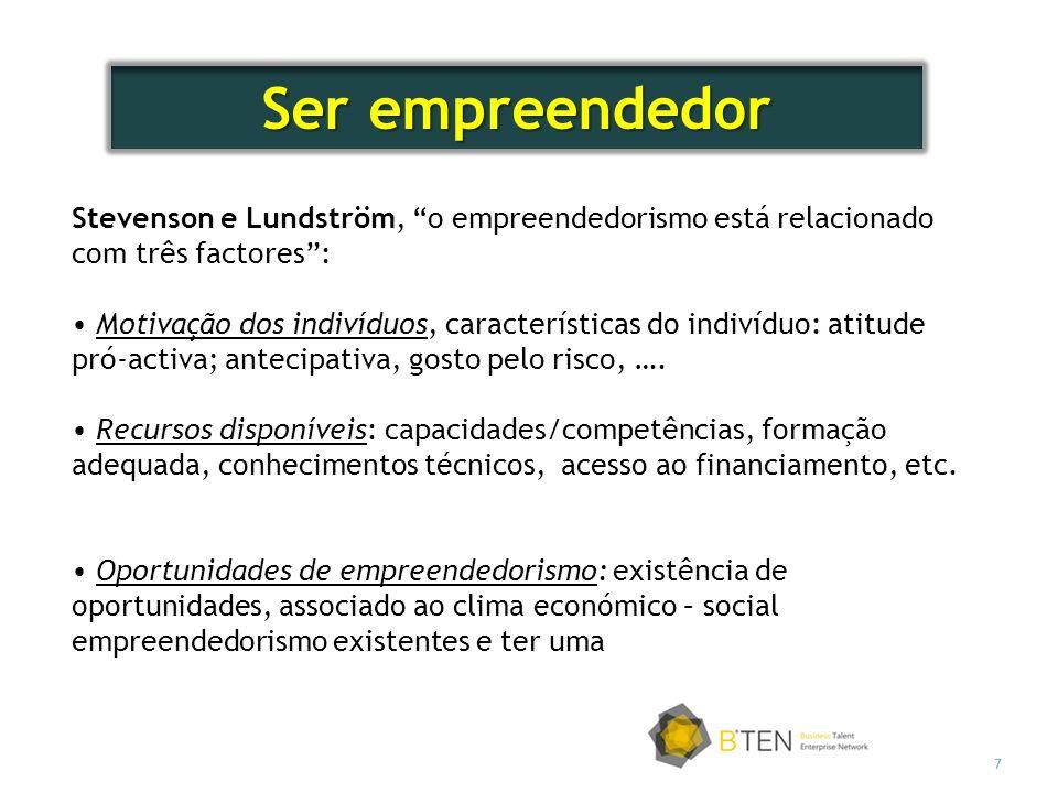 Ser empreendedor Stevenson e Lundström, o empreendedorismo está relacionado com três factores :