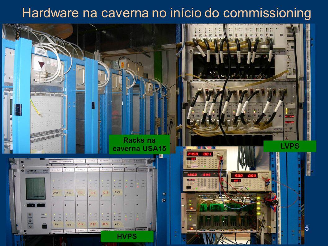 Hardware na caverna no início do commissioning