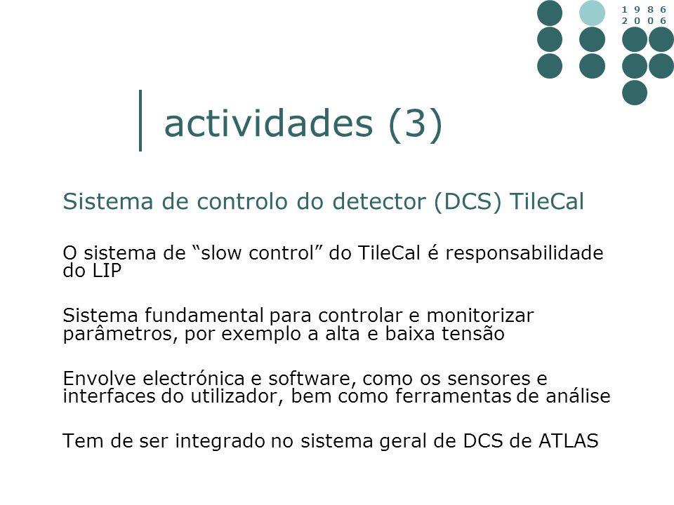 actividades (3) Sistema de controlo do detector (DCS) TileCal