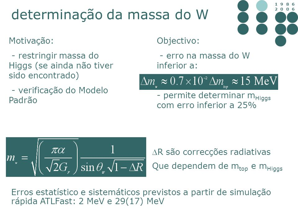determinação da massa do W