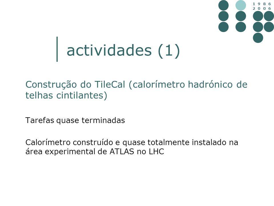 actividades (1) Construção do TileCal (calorímetro hadrónico de telhas cintilantes) Tarefas quase terminadas.