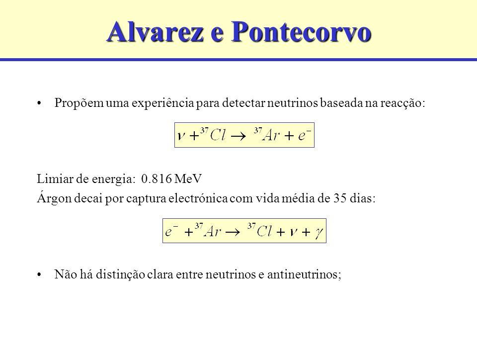Alvarez e Pontecorvo Propõem uma experiência para detectar neutrinos baseada na reacção: Limiar de energia: 0.816 MeV.