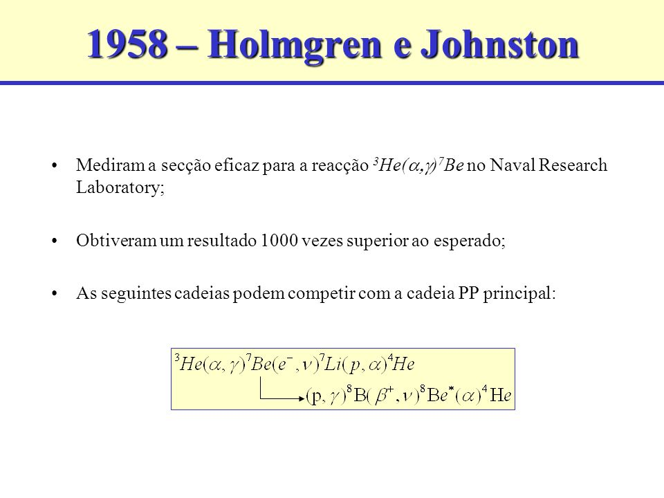 1958 – Holmgren e Johnston Mediram a secção eficaz para a reacção 3He(a,g)7Be no Naval Research Laboratory;