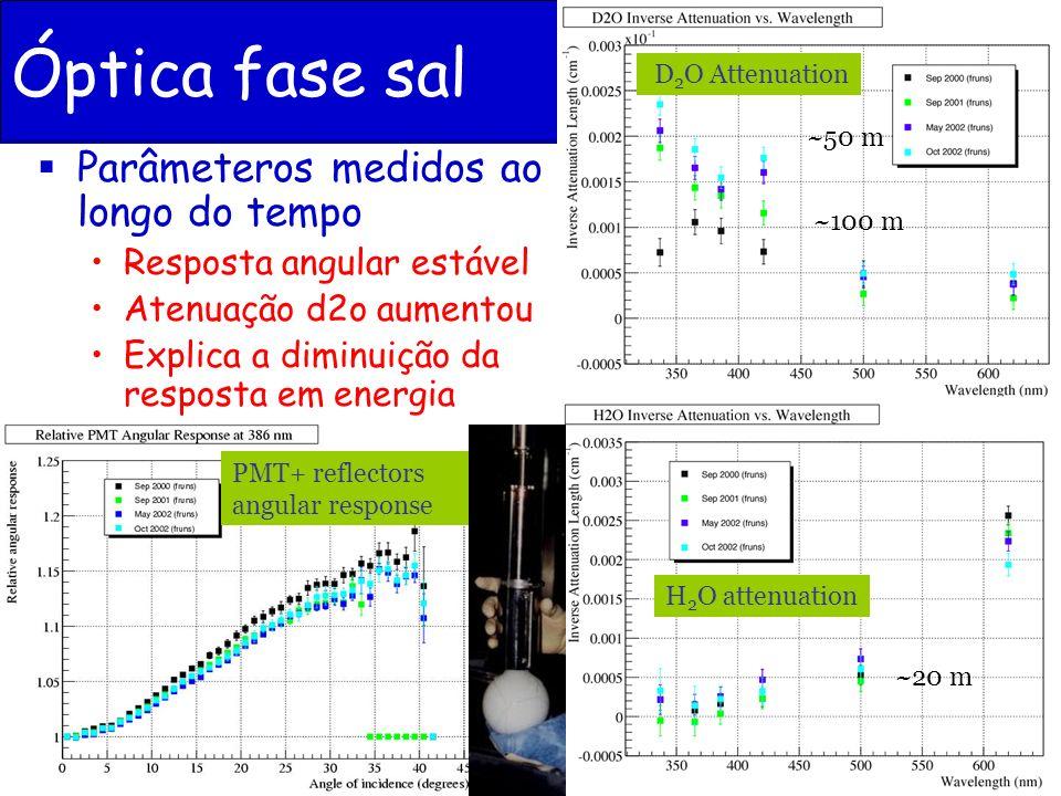 Óptica fase sal Parâmeteros medidos ao longo do tempo