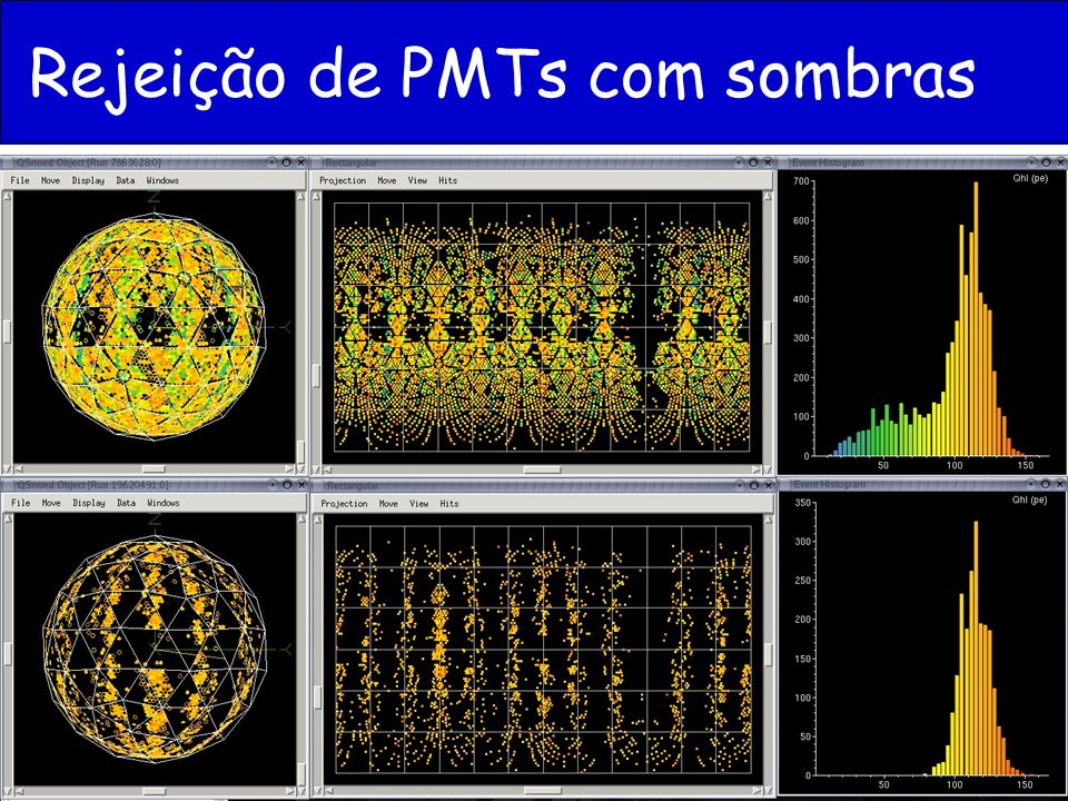 Rejeição de PMTs com sombras