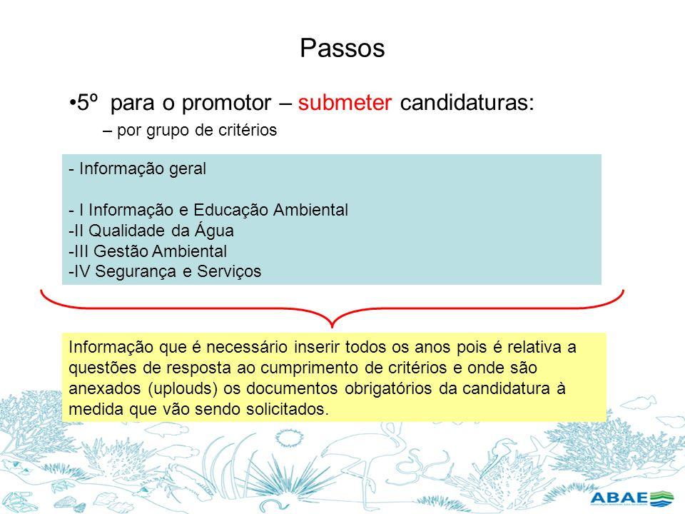 Passos 5º para o promotor – submeter candidaturas: