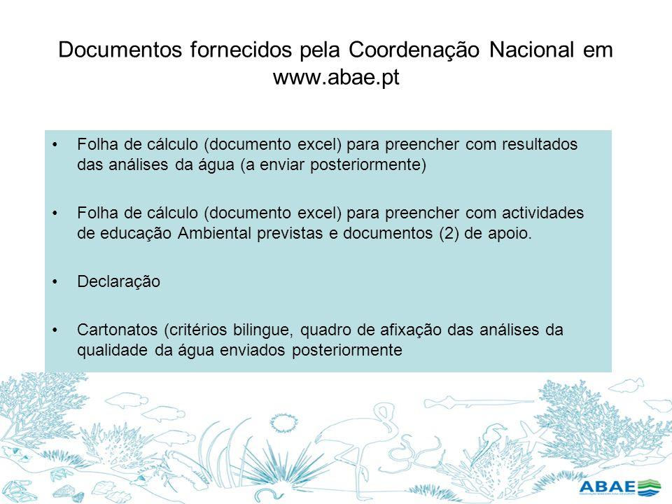 Documentos fornecidos pela Coordenação Nacional em www.abae.pt