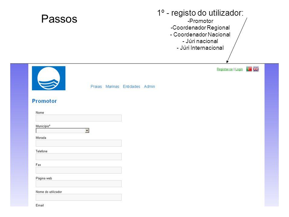 1º - registo do utilizador: