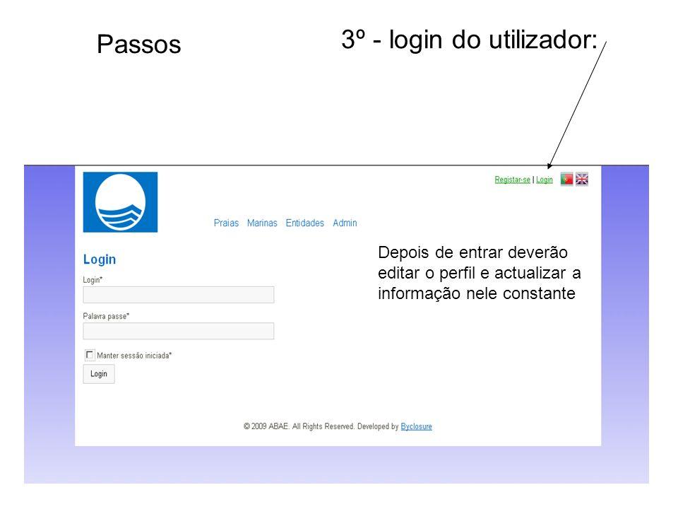 3º - login do utilizador: