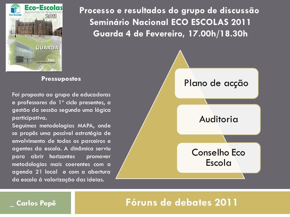 Fóruns de debates 2011 Processo e resultados do grupo de discussão